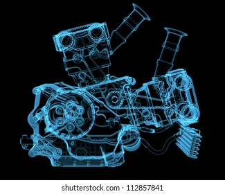 Vehicle motor (3D xray blue transparent)