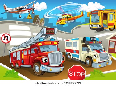 The vehicles in city, urban chaos v 2 - illustration for the children