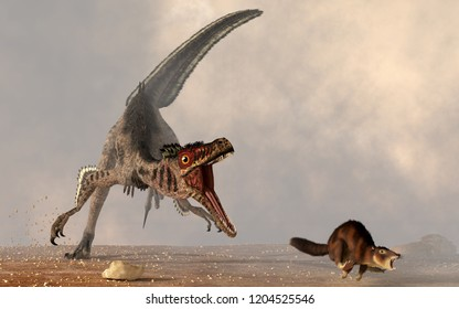 A velociraptor chases a small mammal.  The carnivorous dinosaur is about to make a meal out of the little brown rodent.  Run, little ancestor! 3D Rendering
