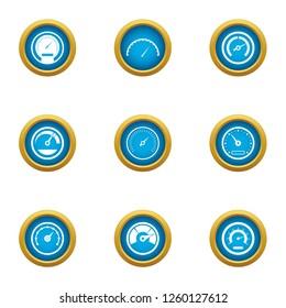 Velocity icons set. Flat set of 9 velocity icons for web isolated on white background