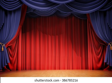 velvet curtains and wooden stage floor