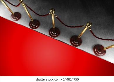 Eine Samtseilschranke mit großem rotem Teppich in Draufsicht