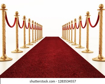 Velvet ropes and golden barriers along the red carpet. 3D illustration.