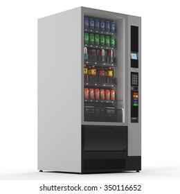 Vending machine on white background. 3d render