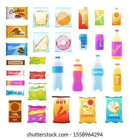 Vending products. Beverages and snack plastic package, fast food snack packs, biscuit sandwich. Drinks water juice flat cracker chips and snacking junk bar icons