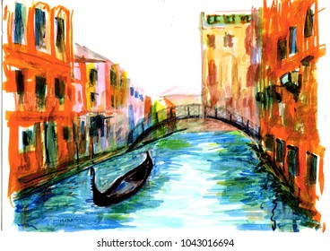 Venetia and gondolas on the channel illustration by markers
