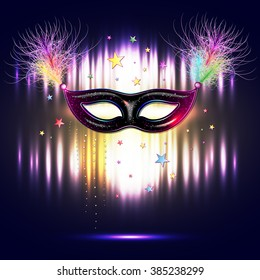 Venetian carnival mask with feathers, abstract background, poster