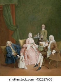 Venetian Family with a Manservant Serving Coffee, by Pietro Longhi, 1752, Italian painting, oil on canvas. Family drinking coffee, served by an man whose inclusion indicates her was a valued member o