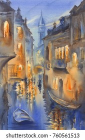 Venetian lights watercolor