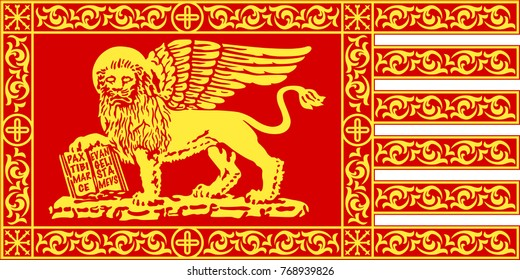 Venetian red gonfalon with the Lion of Saint Mark; it's the symbol of the city of Venice and formerly of the Republic of Venice.