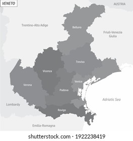 The Veneto grayscale map divided in administrative areas with labels, Italy