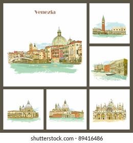 Venezia, Italy Piazza San Marco with Campanile, Basilica San Marco and Doge Palace.