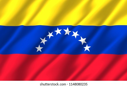Venezuela 3D waving flag illustration. Texture can be used as background.