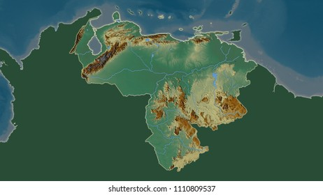 Venezuela area map in the Azimuthal Equidistant projection. Topographic relief map. Overlay with clean background without borders