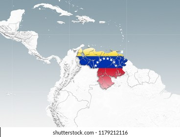Venezuela breaks into pieces on a map of South America