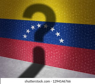 Venezuela crisis and Venezuelan political situation as uncertainty in Caracas and a question shadow on the flag of the south american country in a 3D illustration style.