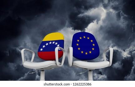 Venezuela and Europe business chairs. Internationl relationship concept. 3D Rendering