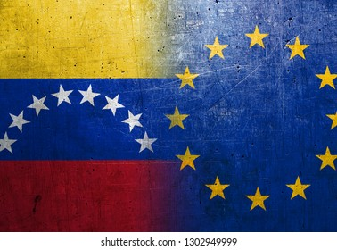 Venezuela and European Union flags on the grunge metal background