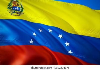 Venezuela flag. 3D Waving flag design. The national symbol of Venezuela, 3D rendering. Venezuela 3D Waving sign design. Waving sign background wallpaper. 3D pattern background download HD wallpaper