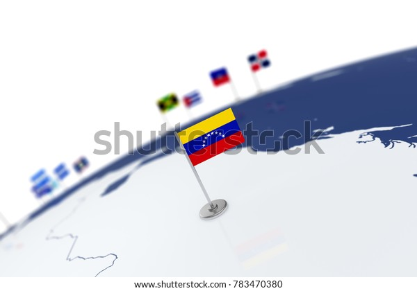 Venezuela flag. Country flag with chrome flagpole on the world map with neighbors countries borders. 3d illustration rendering flag