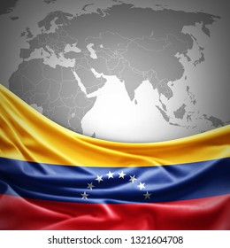 Venezuela flag of silk with copyspace for your text or images and world map background -3D illustration