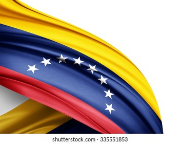 Venezuela  flag of silk with copyspace for your text or images and white background