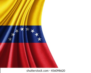 Venezuela flag of silk with copyspace for your text or images and white background-3D illustration