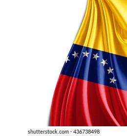 Venezuela  flag of silk and white background-3D illustration
