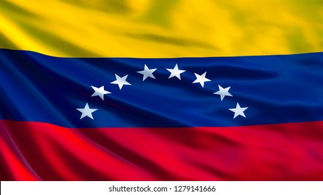 Venezuela flag. Waving flag of Venezuela 3d illustration. Caracas