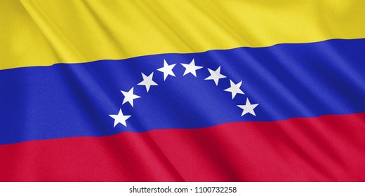 Venezuela flag waving with the wind, wide format, 3D illustration. 3D rendering.