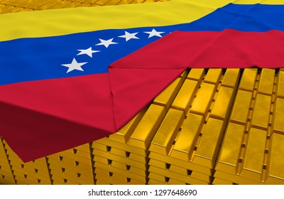 Venezuela gold reserve stock: golden bars are covered with Venezuelan flag in the storage as symbol of national gold and foreign currency reserves, financial health, economic growth. 3d rendering