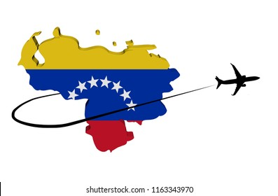 Venezuela map flag with plane silhouette and swoosh 3d illustration