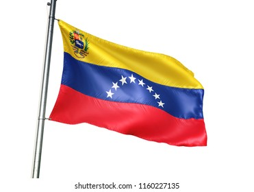 Venezuela national flag with coat of arms waving isolated on white background realistic 3d illustration