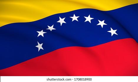 Venezuela National Flag (Venezuelan flag) - Waving background illustration. Highly detailed realistic 3D rendering