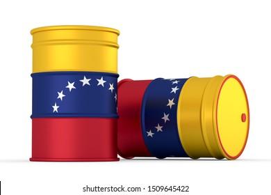 venezuela oil barrels isolated on white background. 3d render