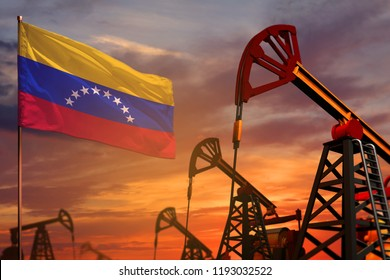 Venezuela oil industry concept, industrial illustration. Venezuela flag and oil wells and the red and blue sunset or sunrise sky background - 3D illustration