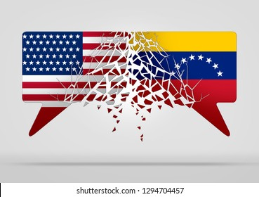 Venezuela United States conflict and diplomatic crisis or Venezuelan political situation as uncertainty in Caracas and breakdown of diplomacy with a south american country in a 3D illustration style.