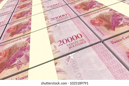Venezuelan Bolivares bills stacks background. 3D illustration.