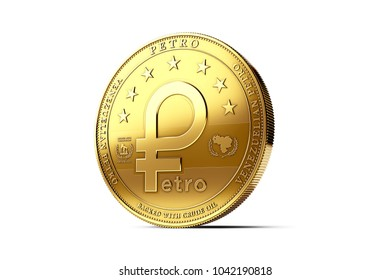 Venezuelan Petro, the oil backed cryptocurrency coin, isolated on white background. 3D rendering