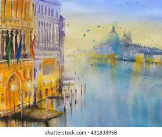 Venice architecture at Grand Canal.Picture created with watercolors.