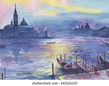 Venice canals with gondolas. Watercolor drawing. Love and romantic holidays, Valentines day concept. Venice town on the water, Italy. Palazzo Ducale or Doge's Palace. Love story, artwork.