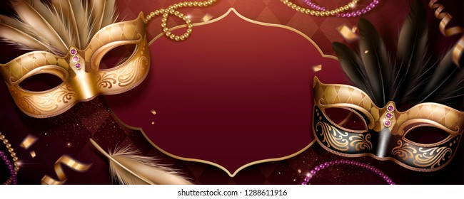 Venice Carnival party banner design with beautiful masks on rhombus burgundy red background in 3d illustration