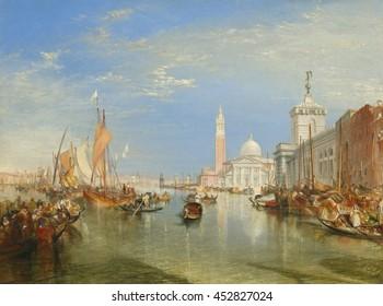 Venice: The Dogana and San Giorgio Maggiore, by Joseph Mallord William Turner, 1834, British painting, oil on canvas. View from near Santa Maria della Salute, on the Grand Canal