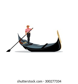 Venice gondola, gondolier rowing oar sign. Italy Travel. Italian man profession. Branding Identity Corporate logo design template Isolated on a white background