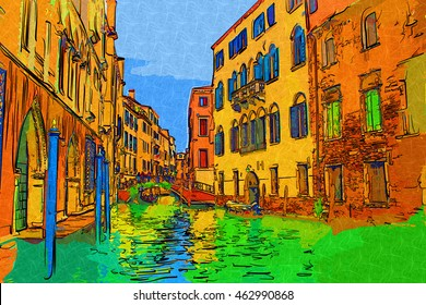 Venice Italy art illustration