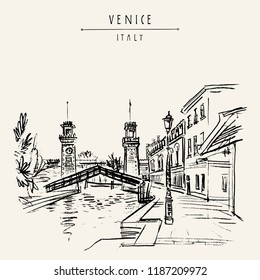 Venice, Italy, Europe. Venetian Arsenal (Arsenale di Venezia). Entrance to the naval Arsenal. Porta di Terra clock towers, Rio de l'Arsenale canal bridge. Travel sketch. Artistic hand drawn postcard