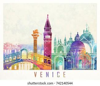 Venice landmarks watercolor poster