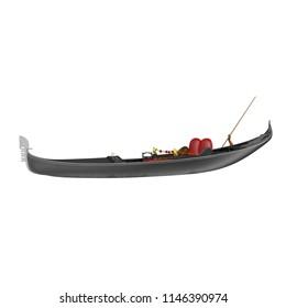 Venice Luxury Gondola Boat on white. 3D illustration