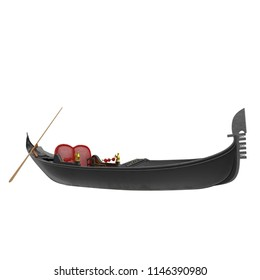 Venice Luxury Gondola Boat on white. 3D illustration