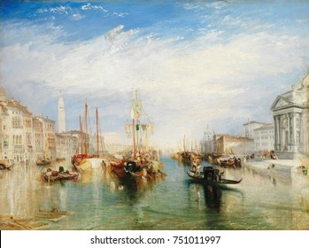 VENICE, FROM THE PORCH OF MADONNA DELLA SALUTE, by Joseph Turner. British, painting, 1835, oil on canvas. View is east toward boats on the Grand Canal, with the St. Marks Campanile in right distance.